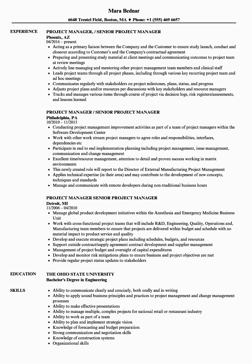 manager senior project manager resume sample