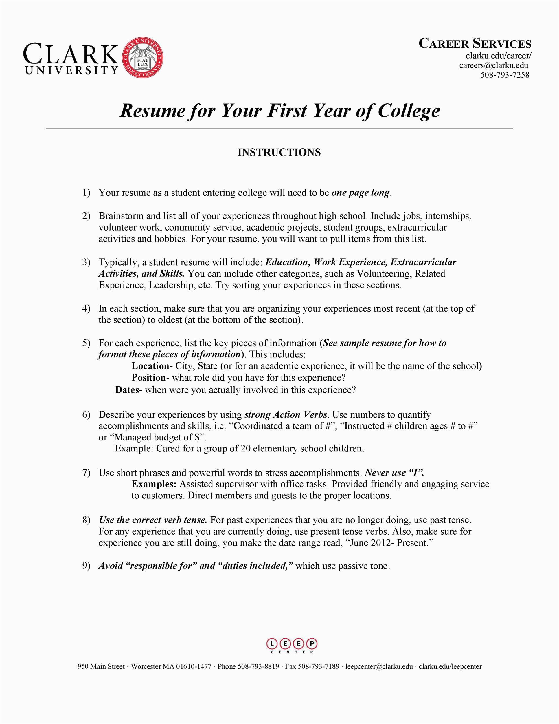 college resumes