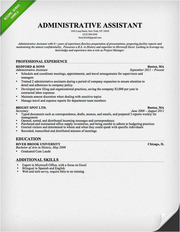 Sample Resumes for Administrative assistant Positions Administrative assistant Resume Sample