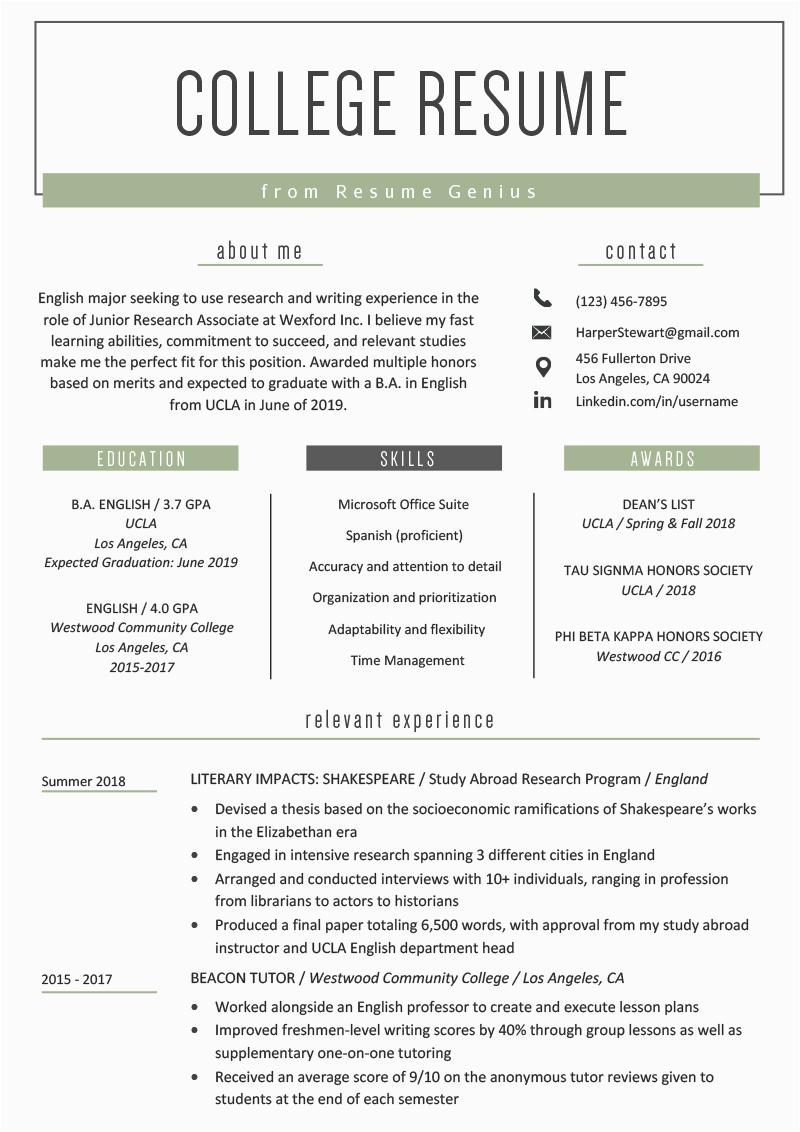college student resume example