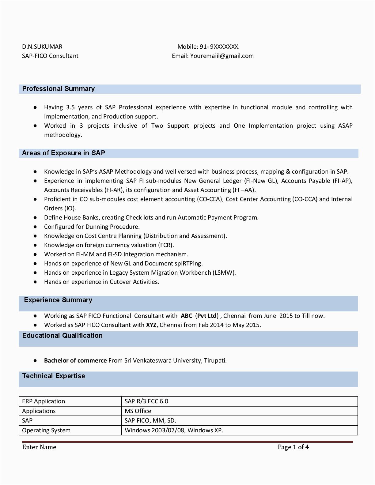 Sap Fico Sample Resume for Experienced Sap Fico Resume Sample Resume Sample