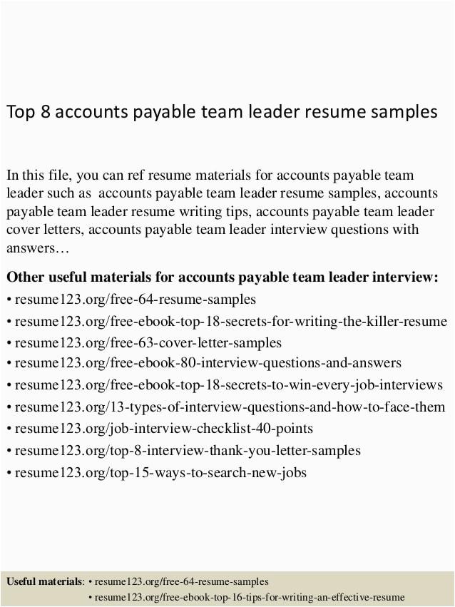 Accounts Payable Team Leader Resume Sample top 8 Accounts Payable Team Leader Resume Samples