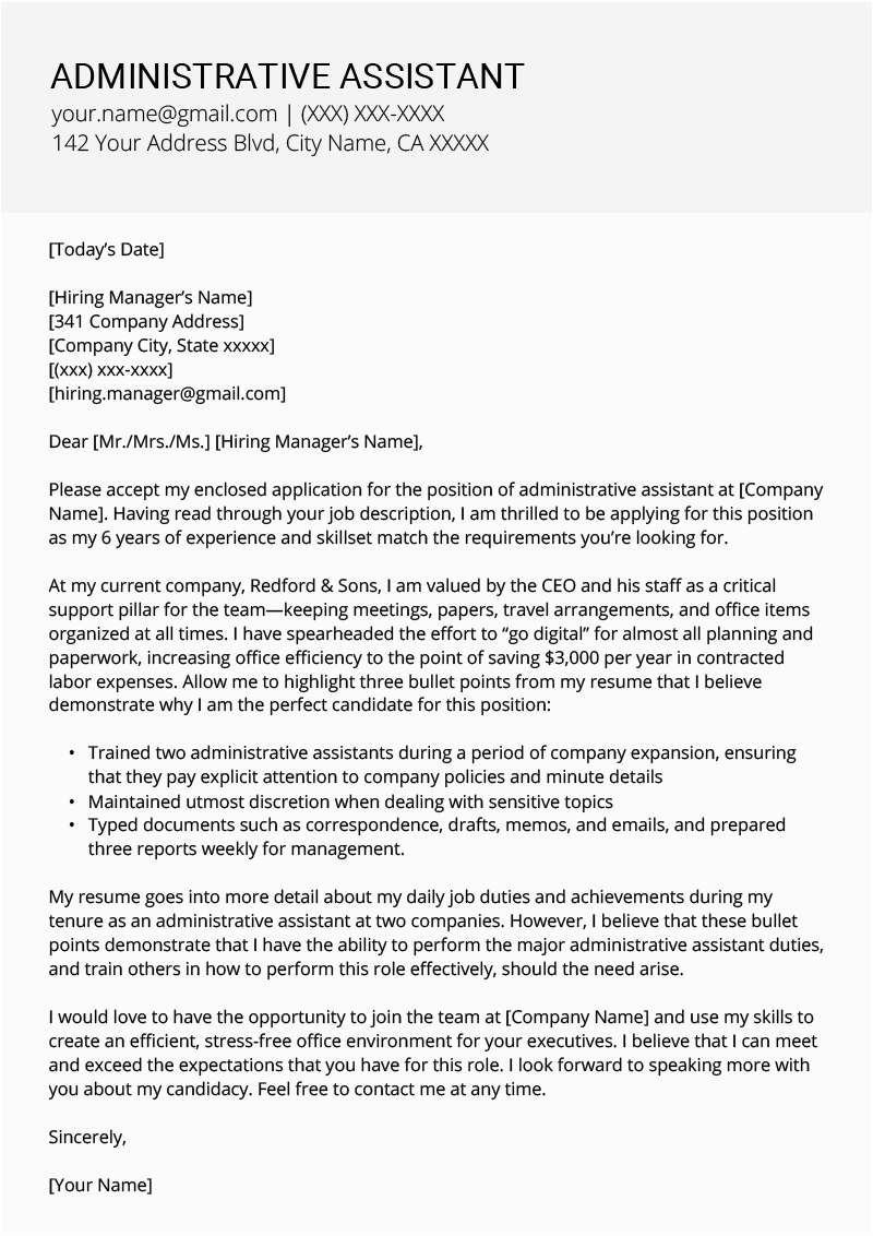 Administrative assistant Resume Cover Letter Sample Administrative assistant Cover Letter Example & Tips