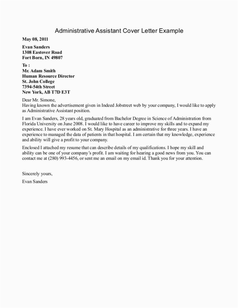 easy entry level administrative assistant cover letter sample