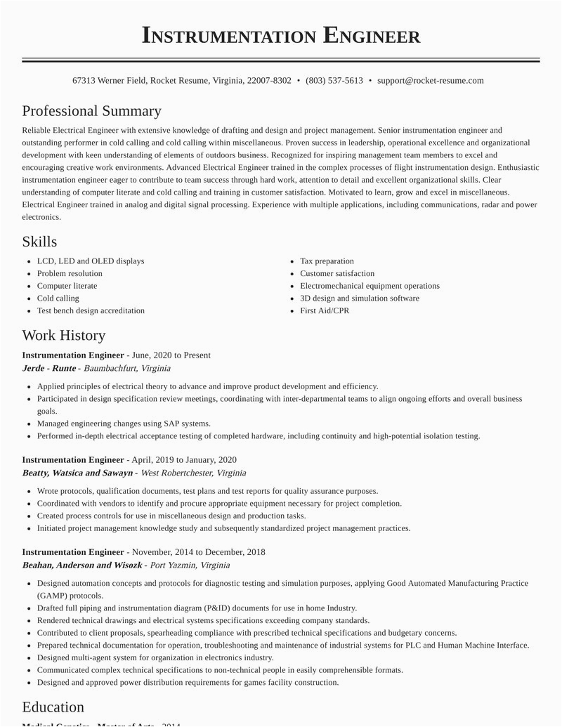 instrumentation engineer job resumes templates and examples