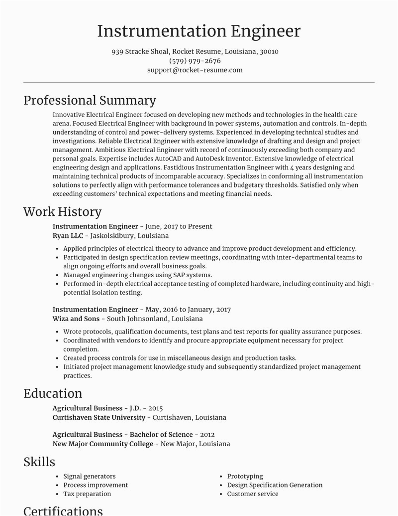 Electrical and Instrumentation Engineer Resume Sample Instrumentation Engineer Resumes