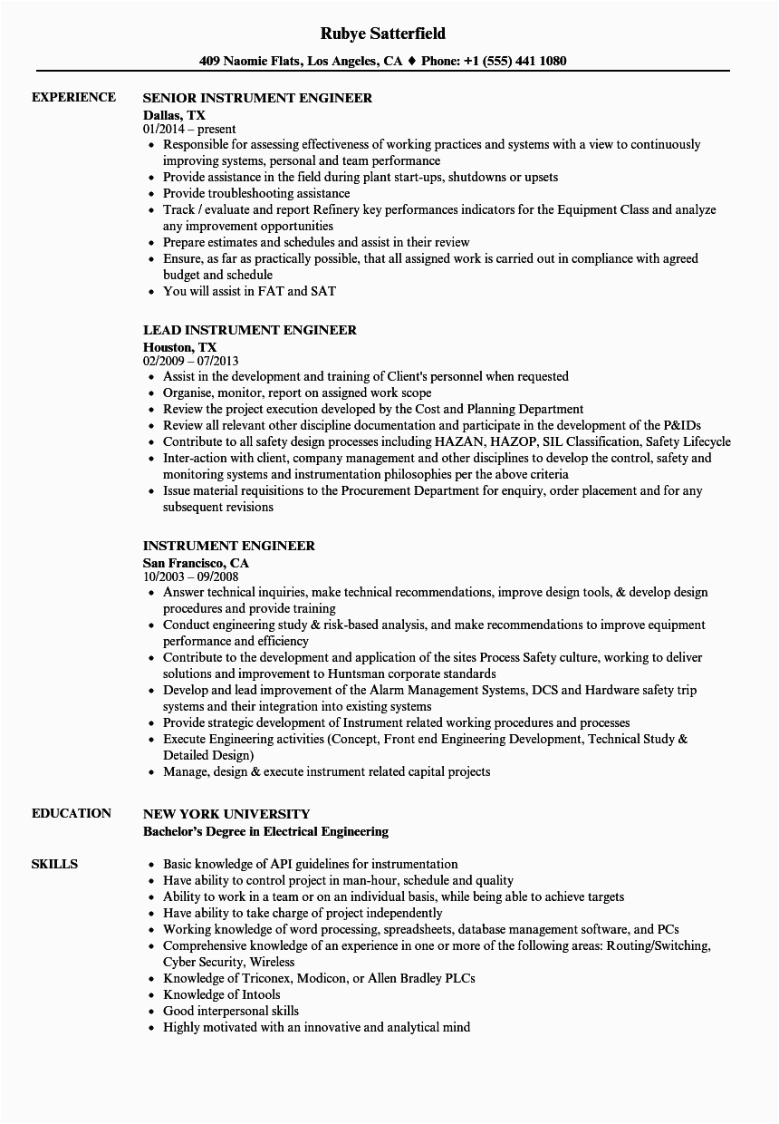 resume for electrical engineer with 2 years experience