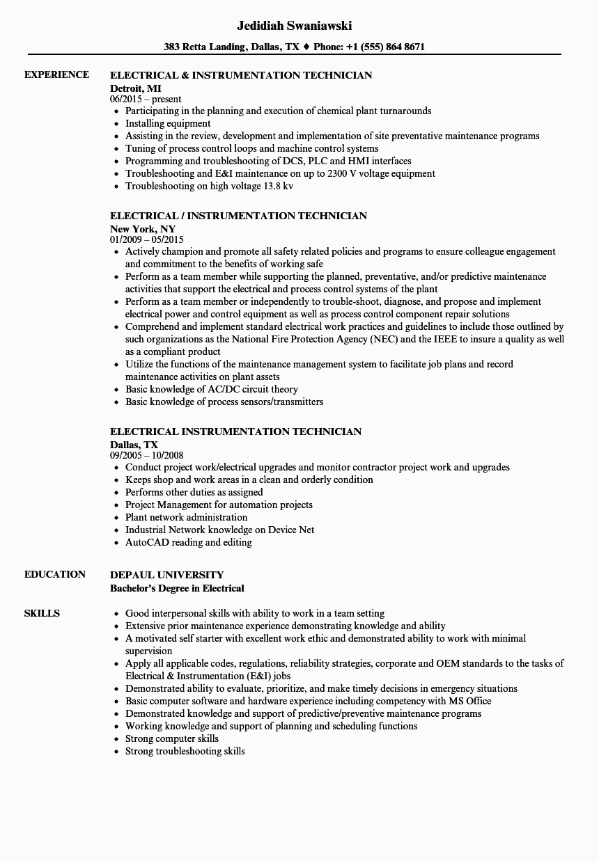 Electrical and Instrumentation Technician Resume Sample Electrical & Instrumentation Technician Resume Samples