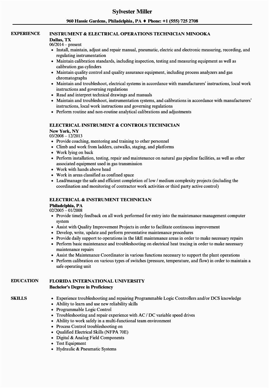 instrument electrical resume sample