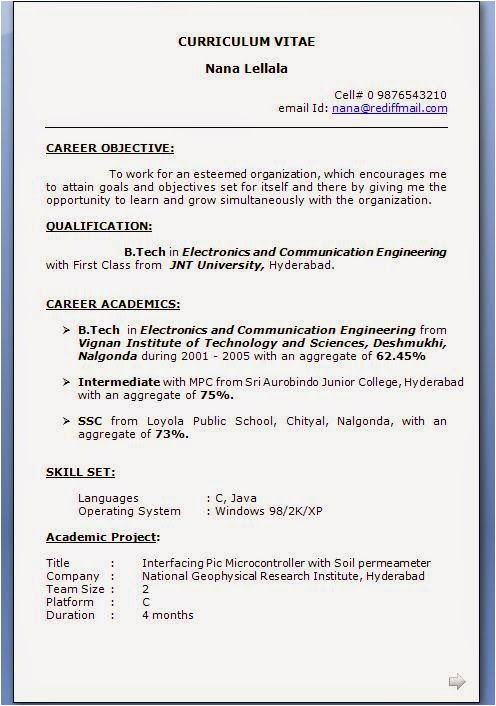 Electronics and Communication Engineering Resume Samples for Experience Sample Resume for Electronics and Munication Engineer