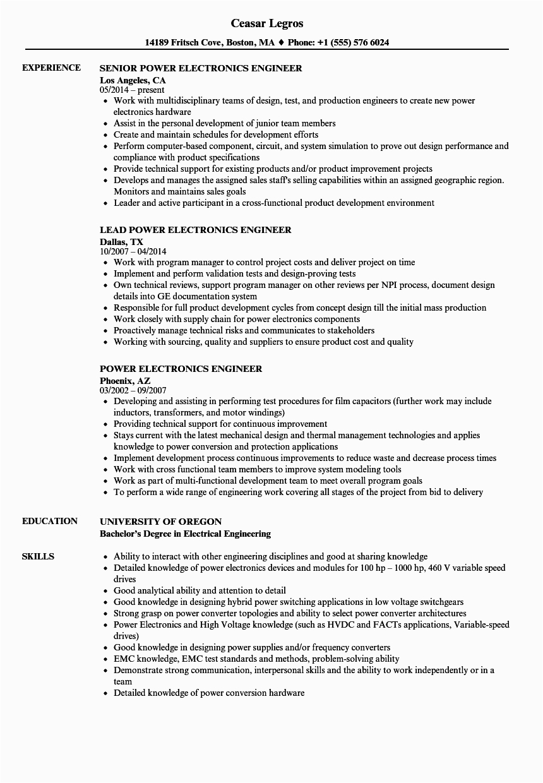 Electronics Engineer Resume Sample for Freshers Good Resume for Electronics Engineer Electronic Engineer
