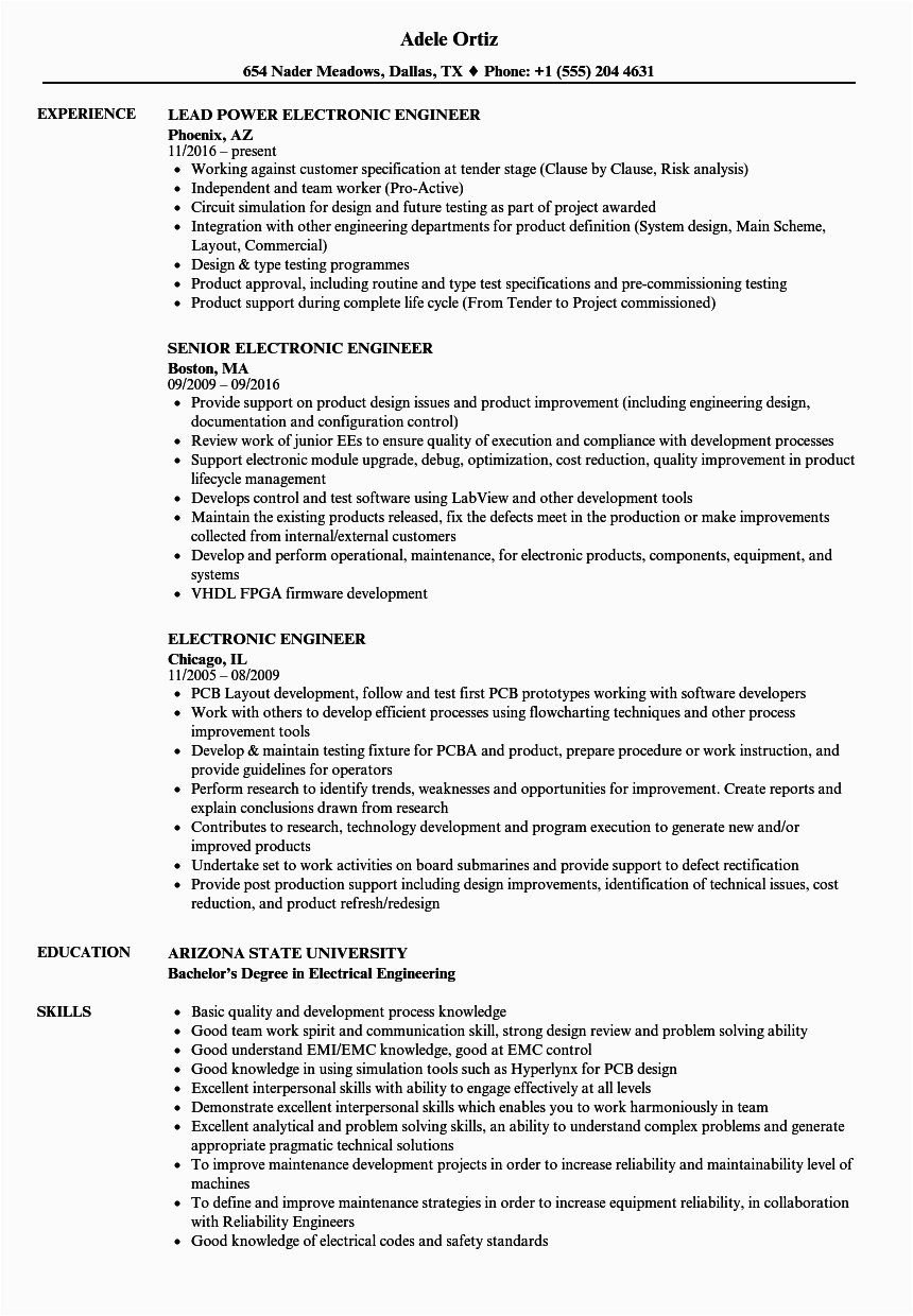 resume for freshers ece engineers