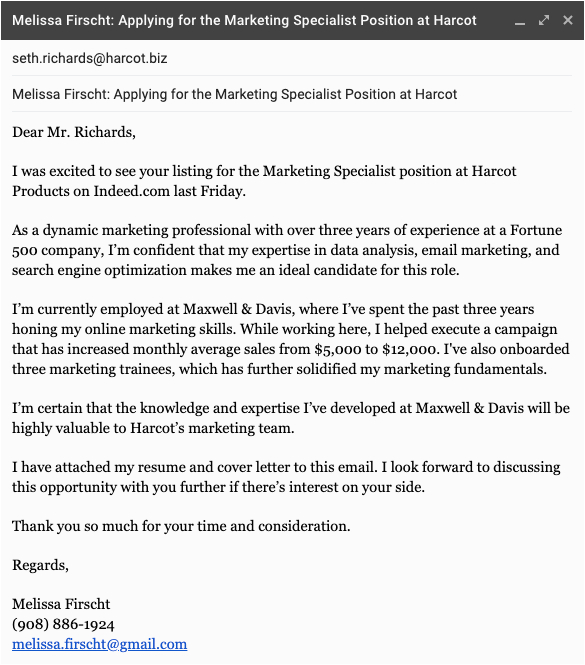 Email attaching Resume and Cover Letter Sample Writing An Email Cover Letter Sample 5 Expert Tips