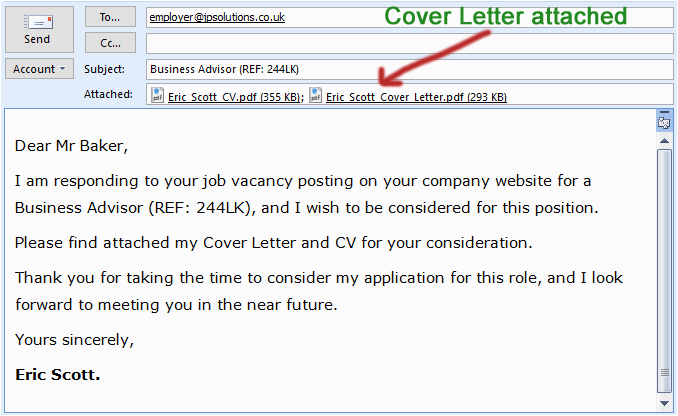 email body for send resume and cover letter files x
