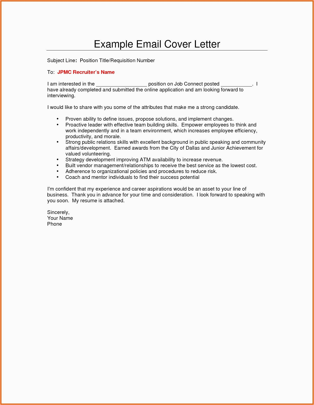 Email Sample to Recruiter with Resume Email to Recruiter with Resume