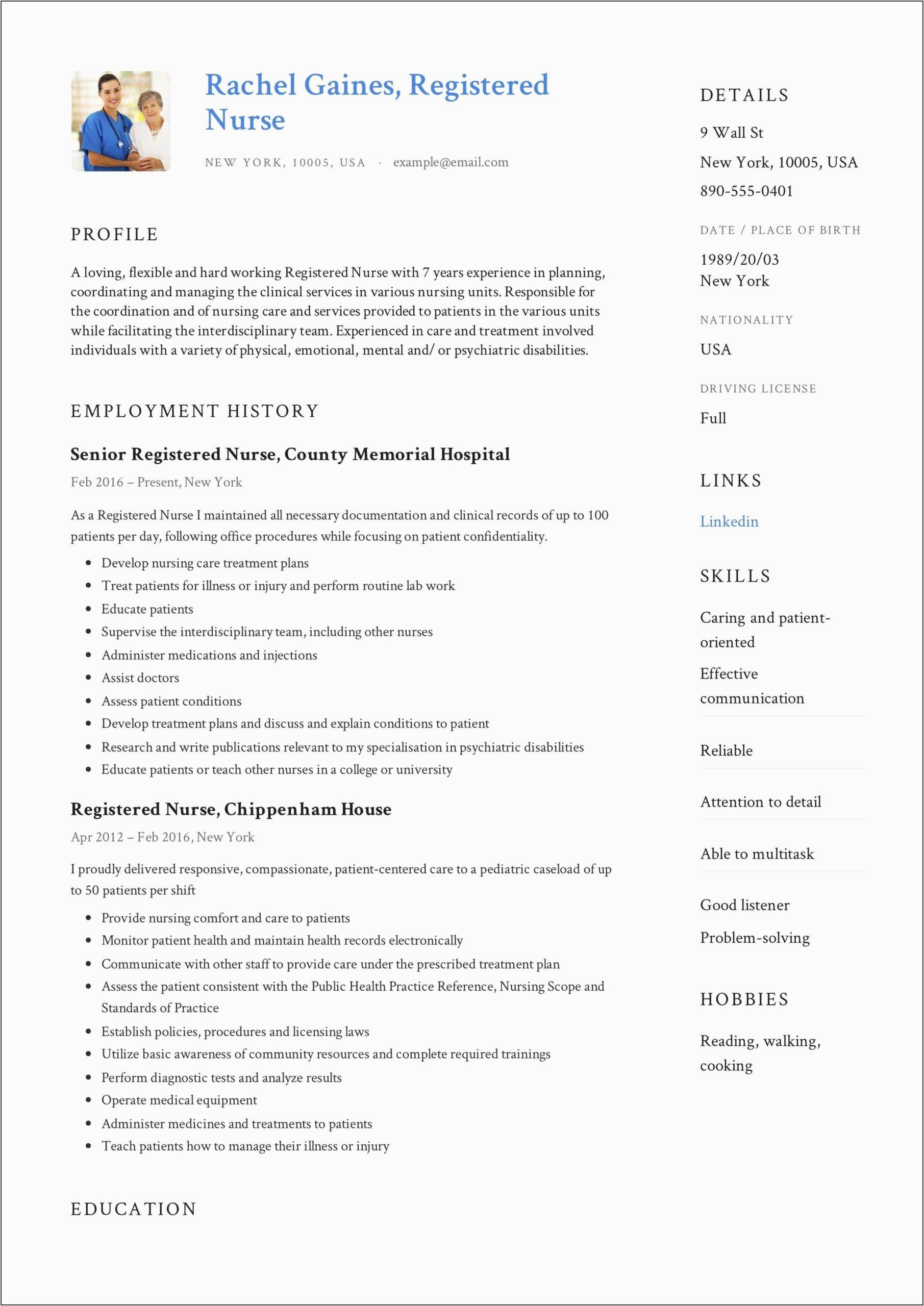 sample resume registered nurse entry level