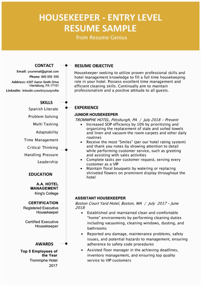 entry level housekeeping resume