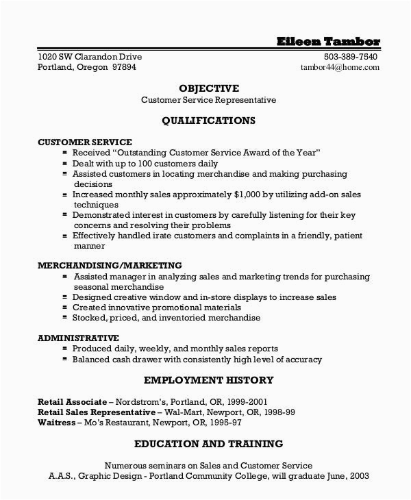Free Sample Resume for Customer Service Representative Customer Service Representative Resume 9 Free Sample
