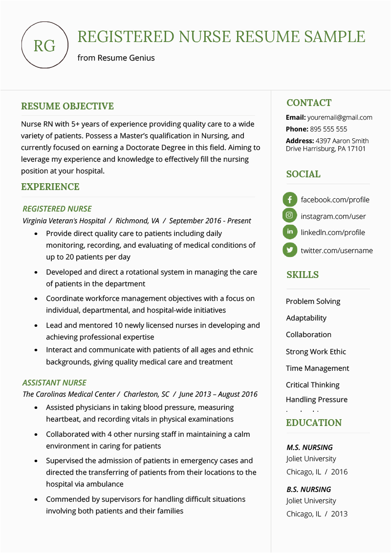 nursing resume example