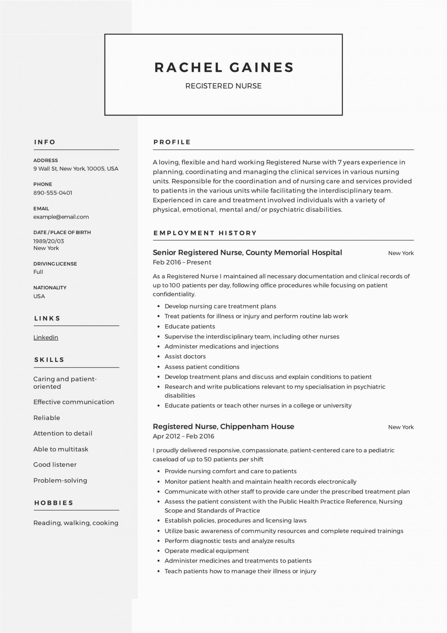 Free Sample Resume for Registered Nurse Registered Nurse Resume Sample & Writing Guide