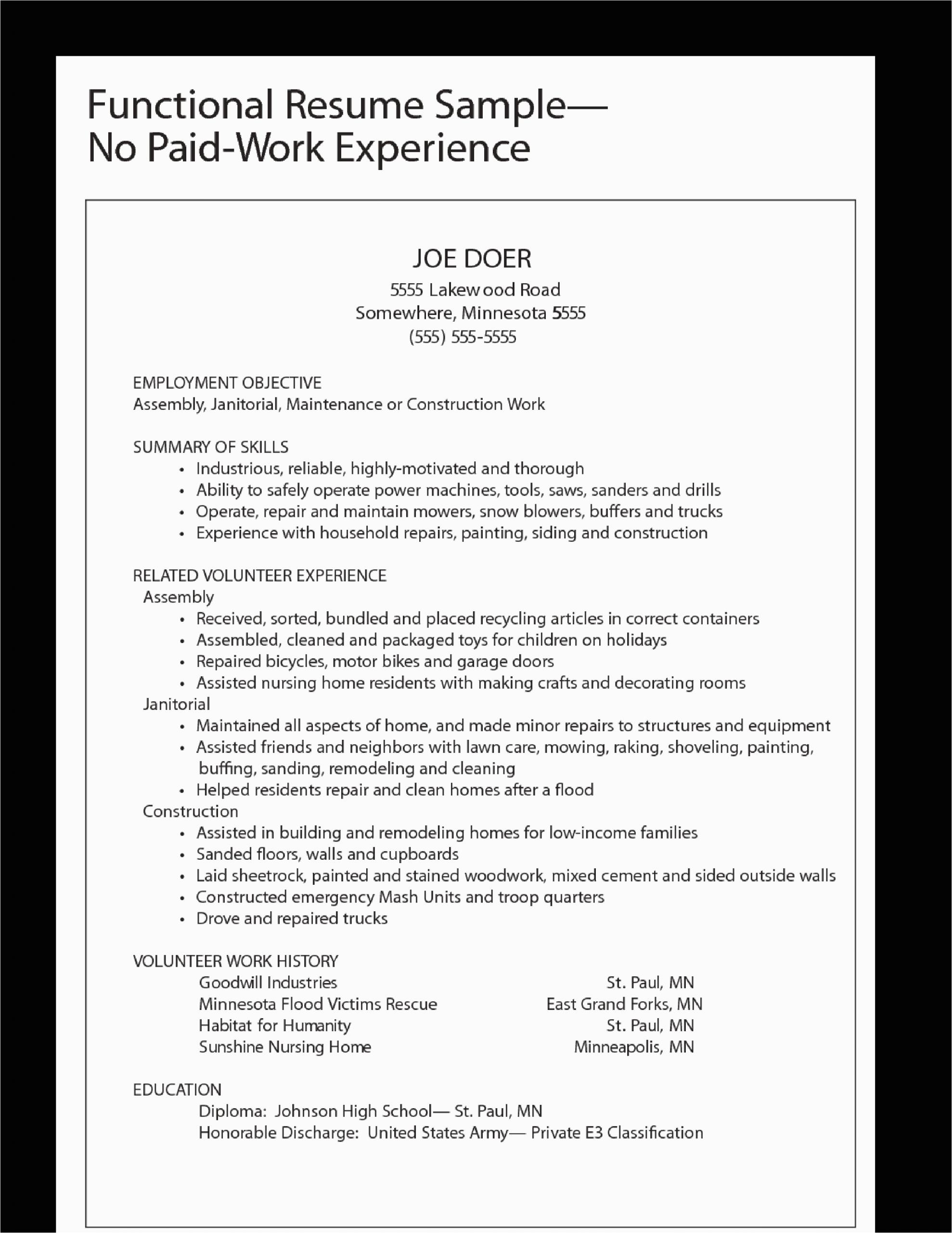 Job Application Work Experience Resume Sample Functional Work Experience Resume Sample