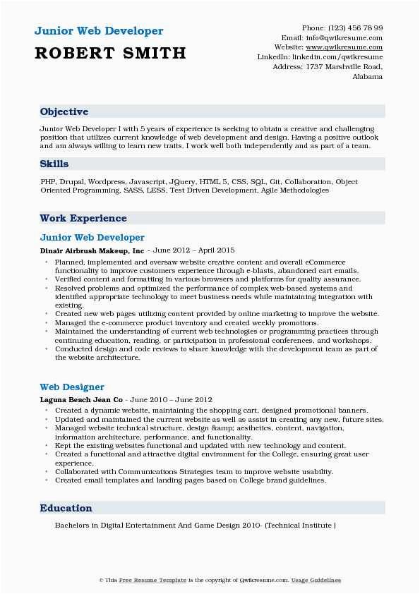 Junior Web Developer Resume Objective Sample Junior Web Developer Resume Samples