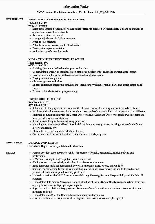 kindergarten teacher assistant resume examples