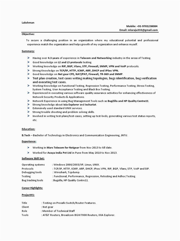 L2 L3 Protocol Testing Sample Resumes Laxman L2&l3 Testing Resume