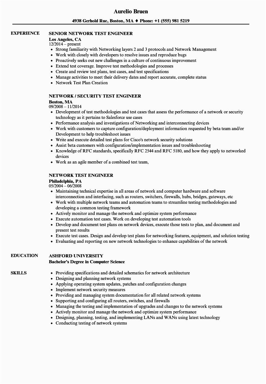network test engineer resume sample