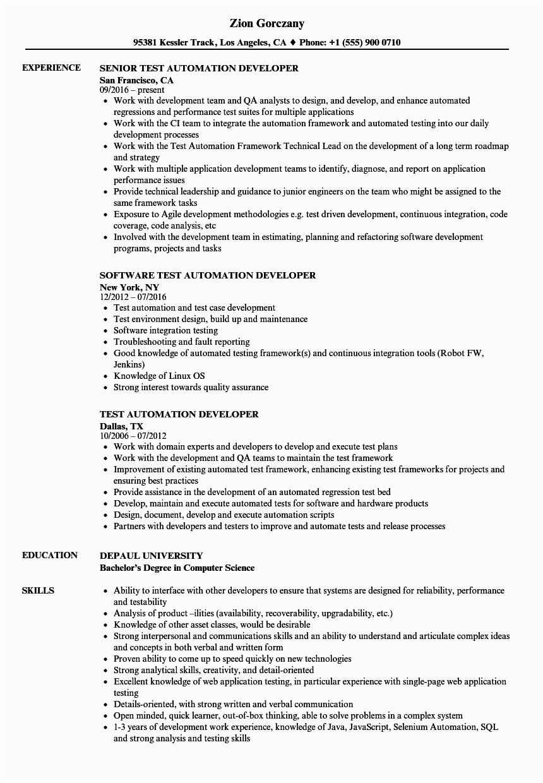 test automation developer resume sample
