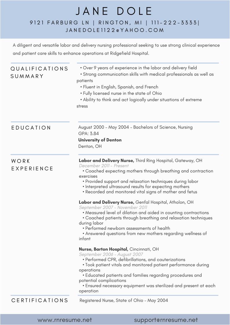 labor and delivery nurse job description resume