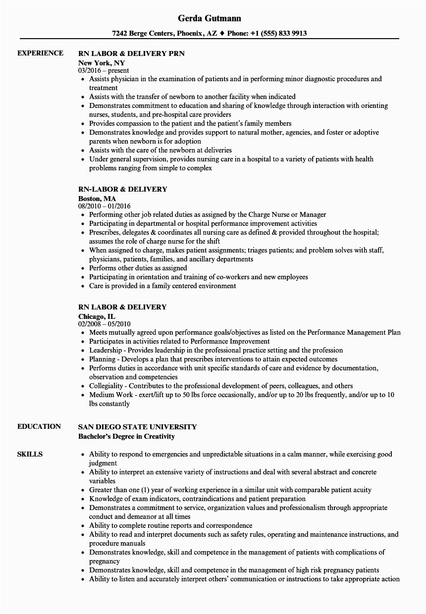 Labor and Delivery Rn Resume Sample Labor and Delivery Rn Resume Mryn ism