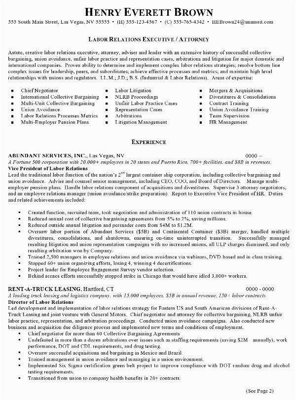 resume sample 4 labor relations executive attorney