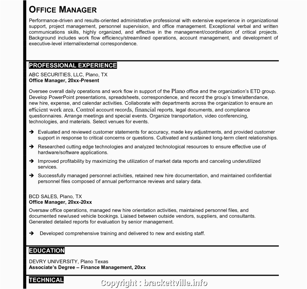 professional law office manager resume