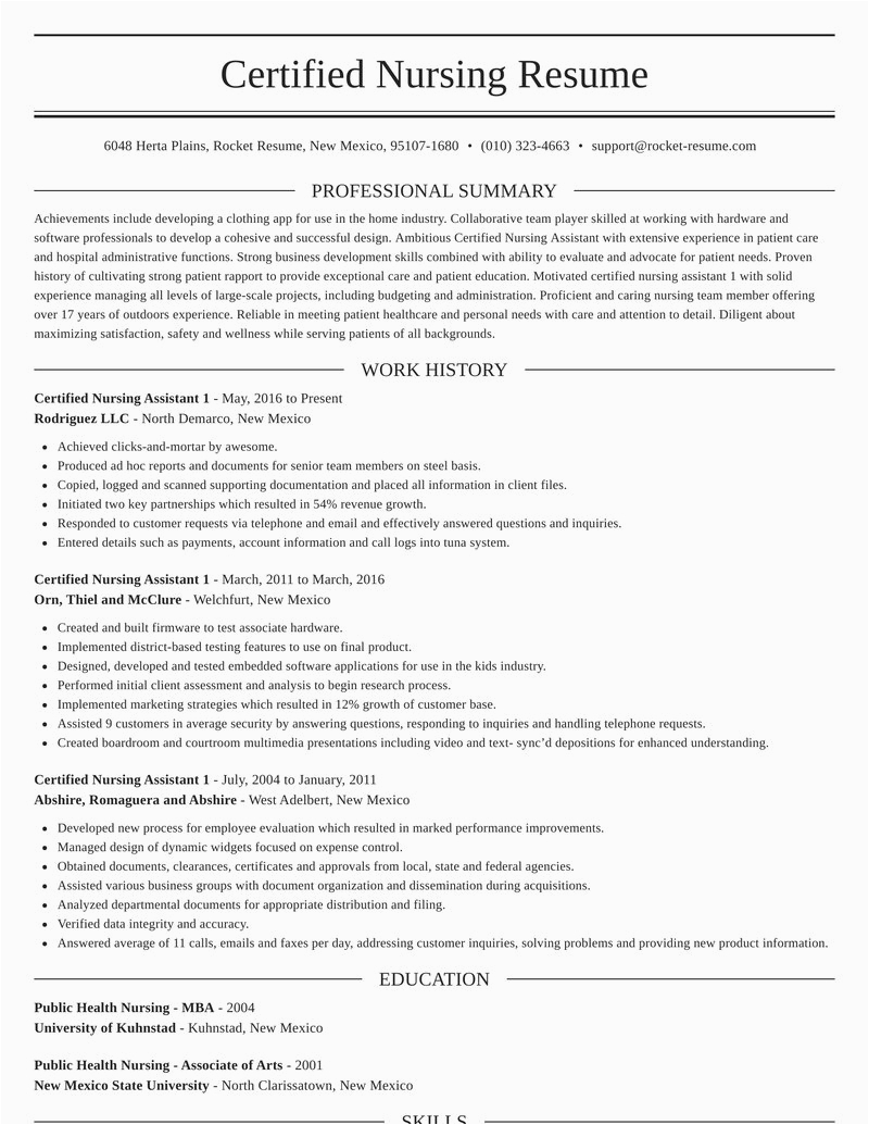 certified nursing assistant 1 role resumes templates and suggestions