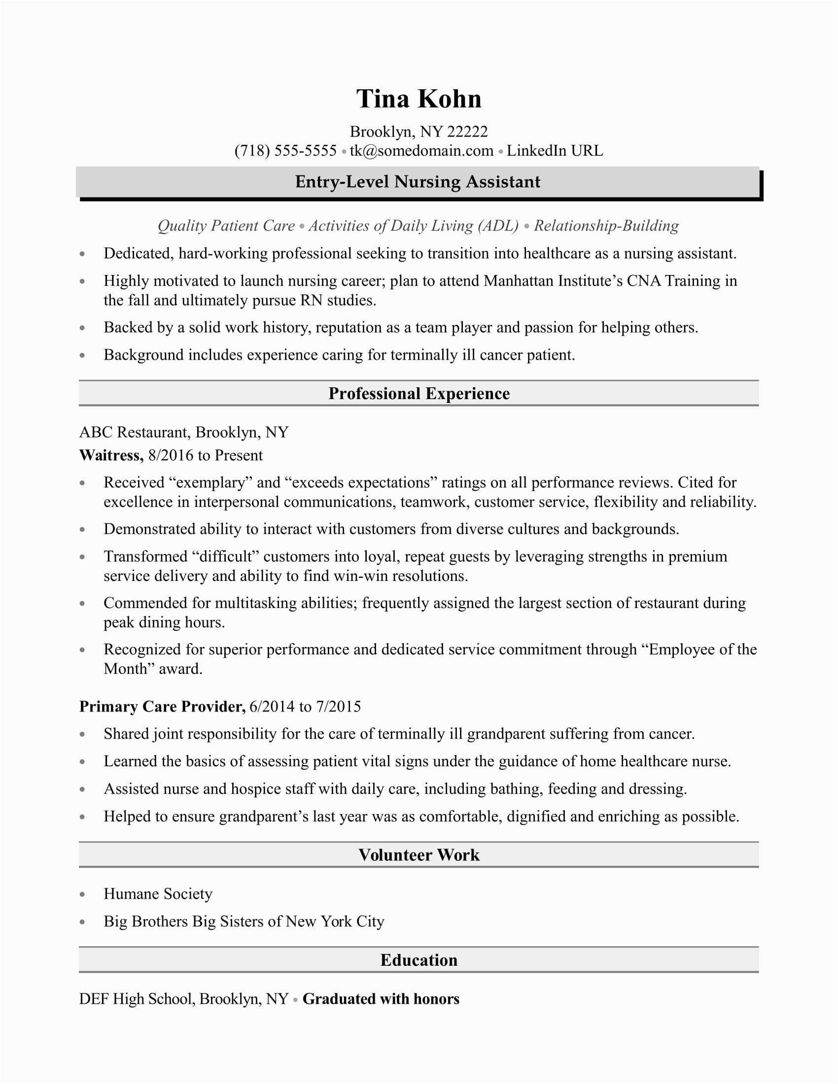 New Certified Nursing assistant Resume Samples Sample Resume Nursing assistant Certified Nursing