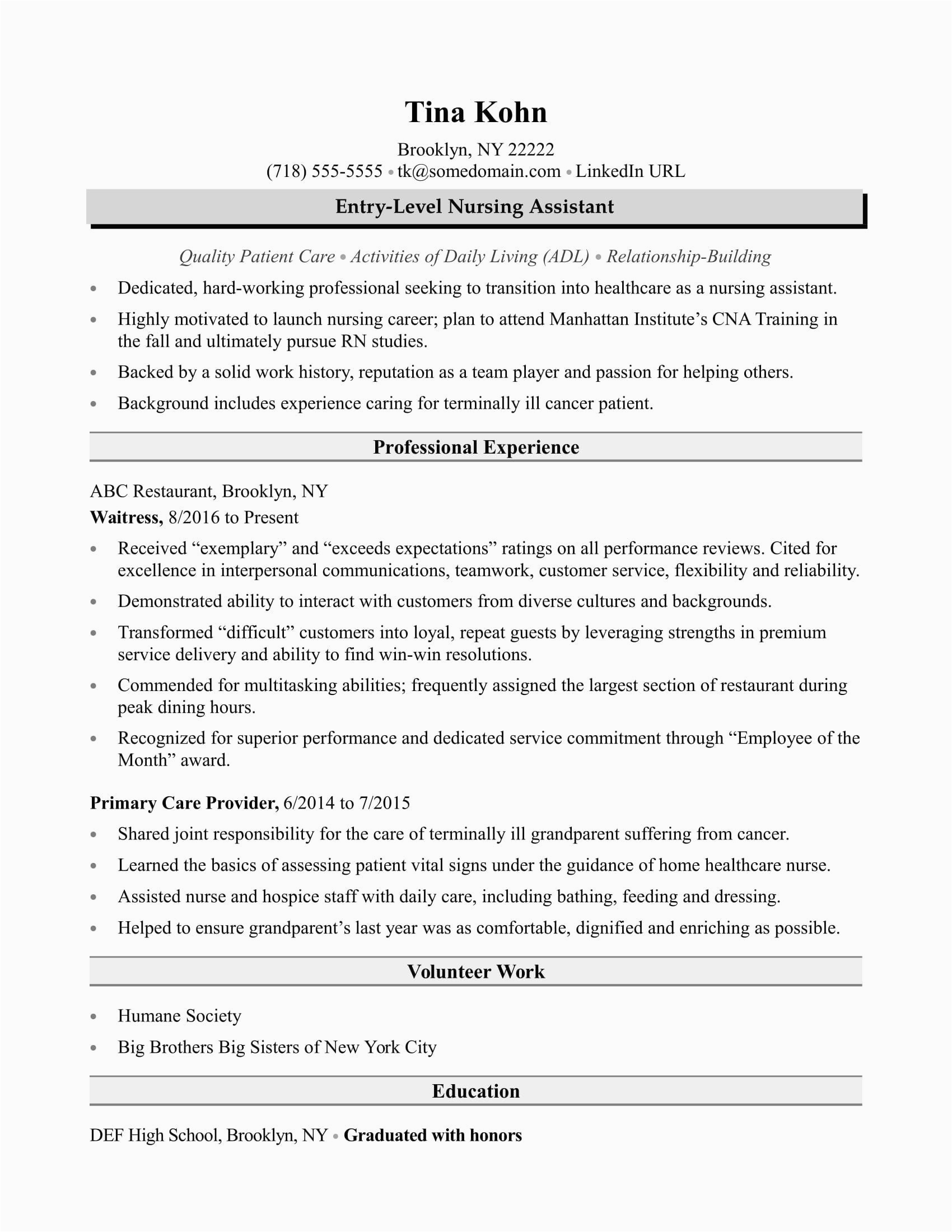 new grad rn resume with no experience template