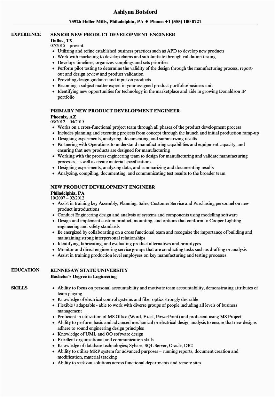 New Product Development Engineer Resume Sample New Product Development Engineer Resume Samples