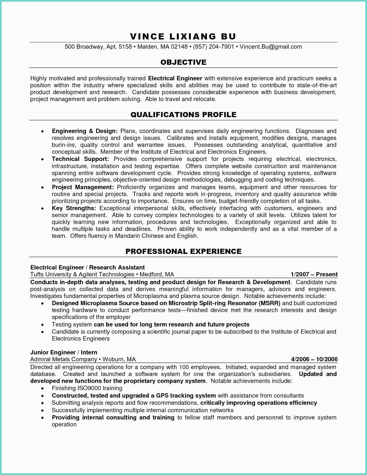 sample resume for new product development engineer
