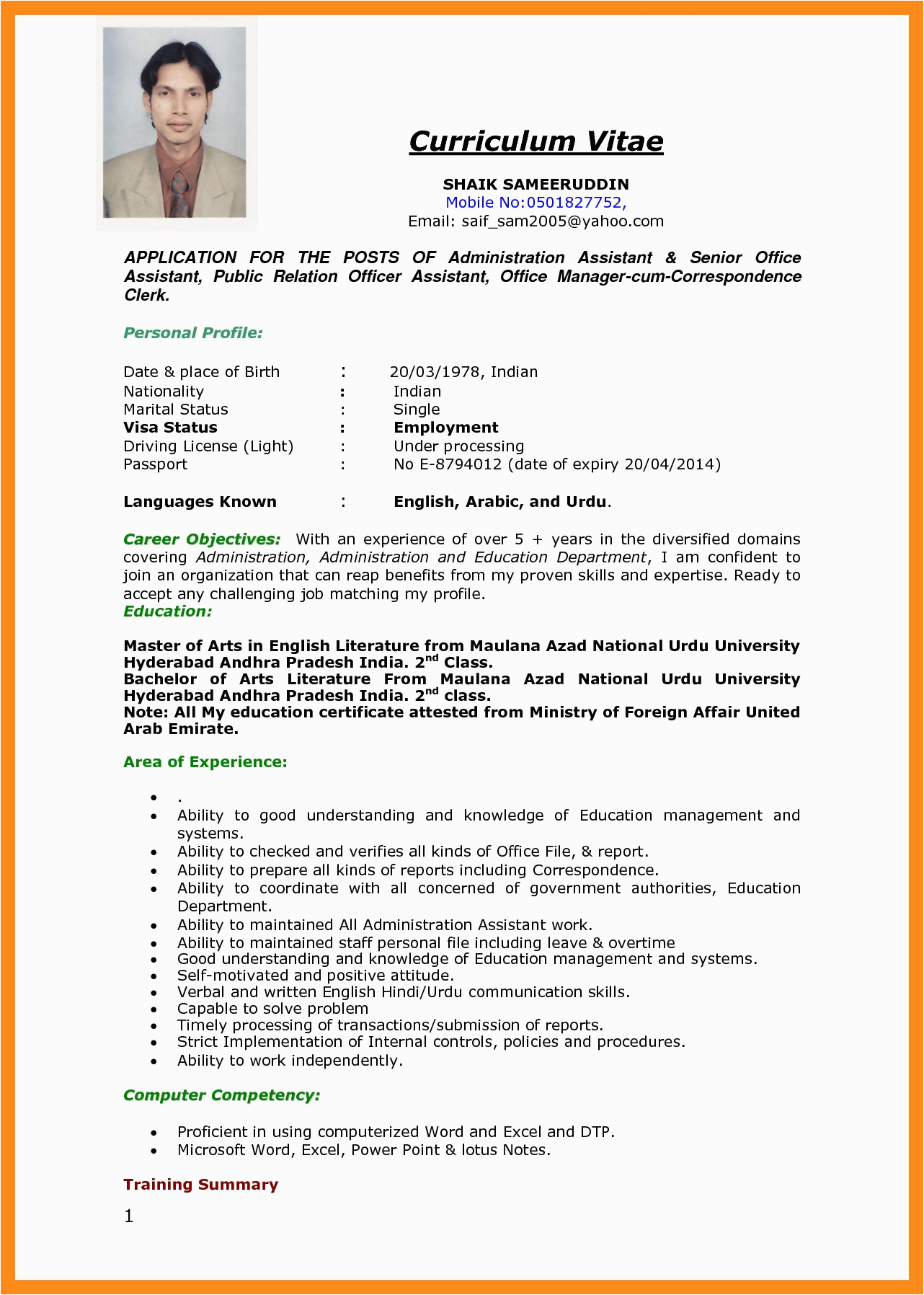 employment application resume sample