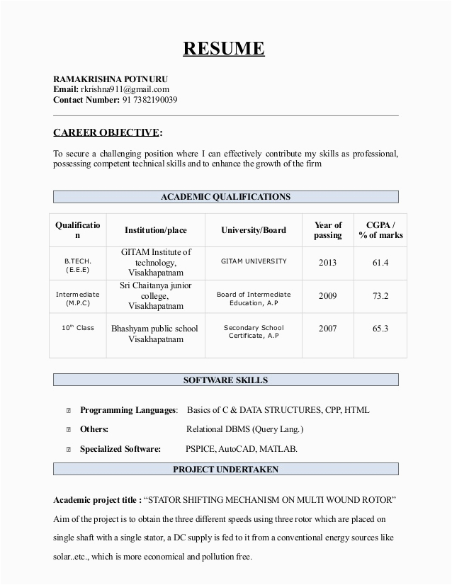 Resume Samples for Btech Cse Students Student Resume Btech Best Resume Examples