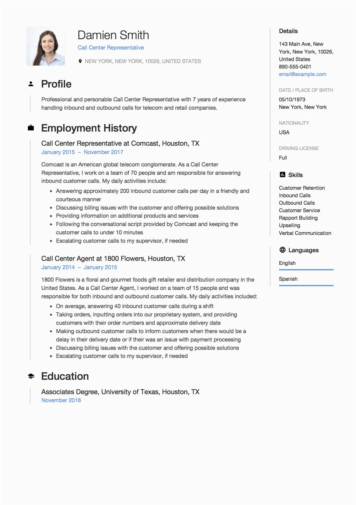 Resume Samples for Call Center Job 12 Call Center Representative Resume Sample S 2018 Free