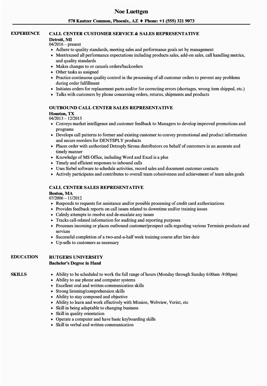call center representative resume examples