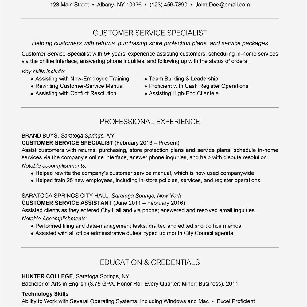 customer service resume example