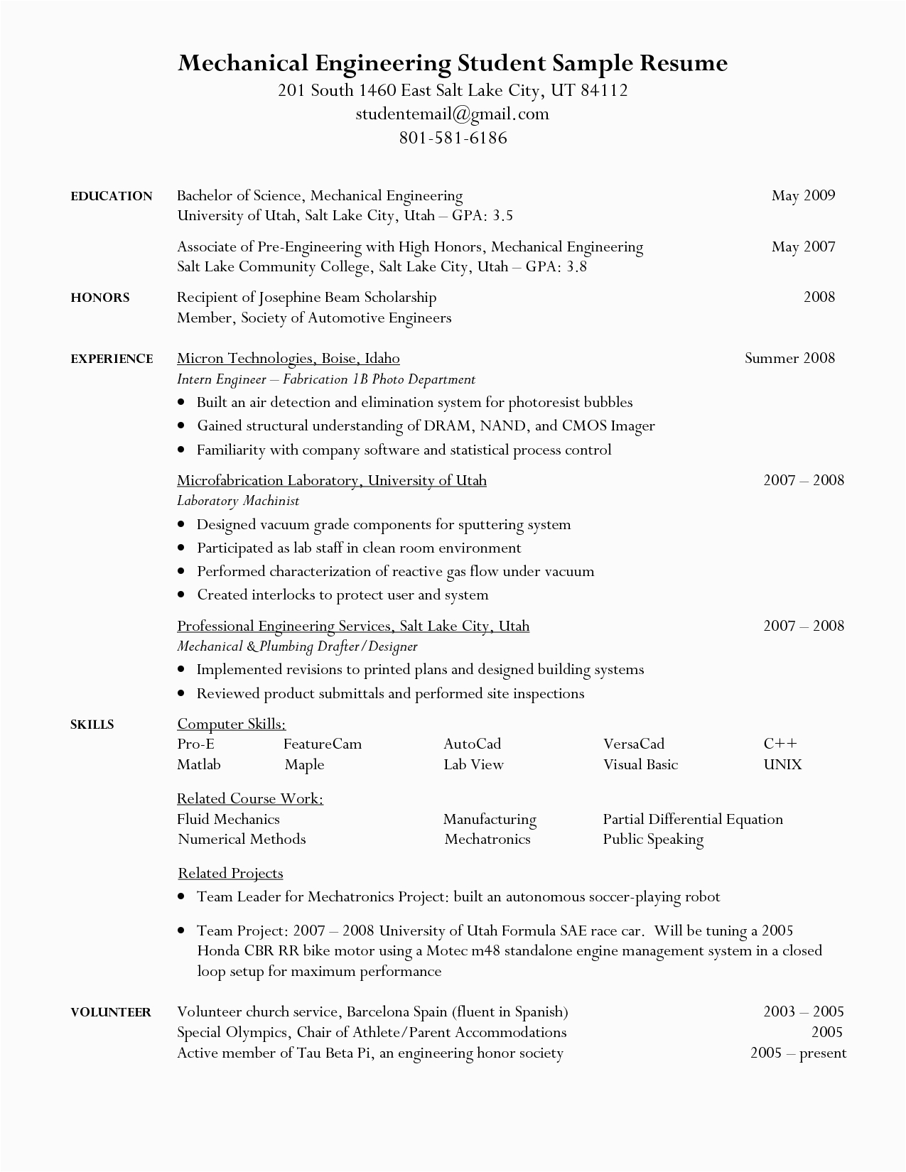 Resume Samples for Engineering Students In College Engineering Student Resume Google Search