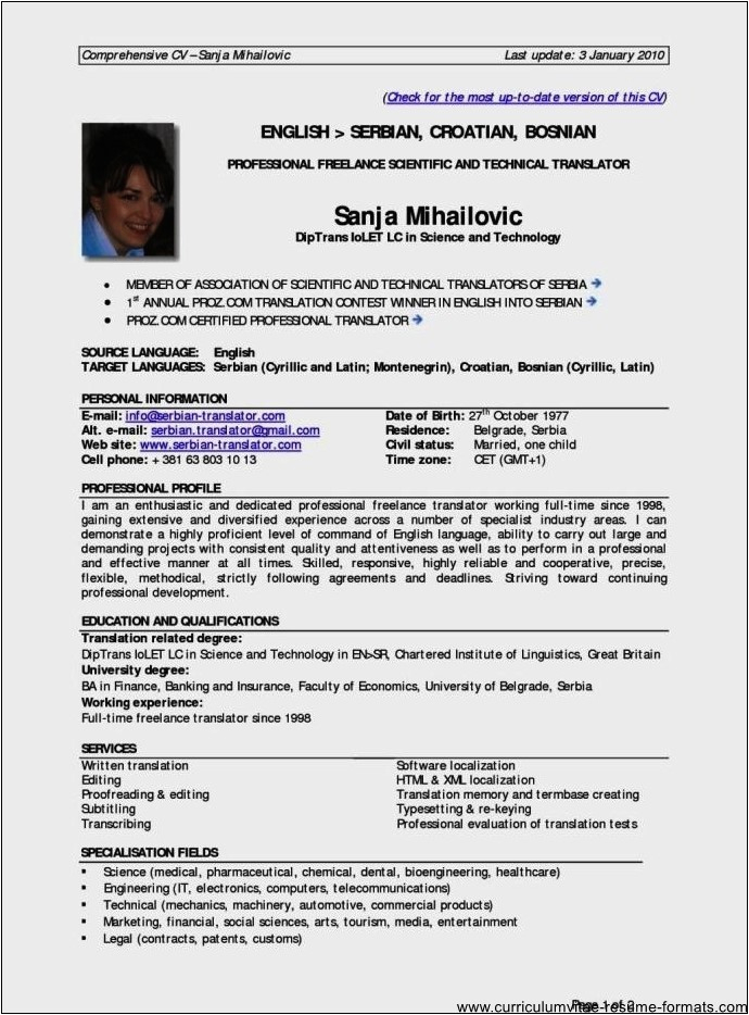example resume for experienced professional