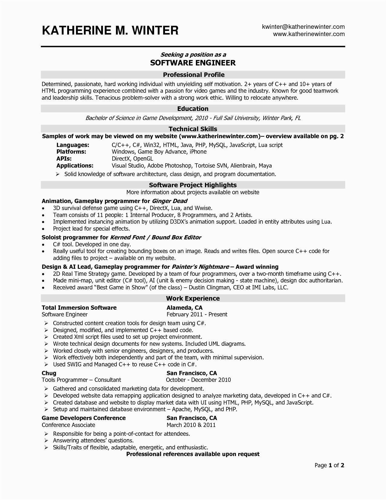experienced software engineer resume 4444