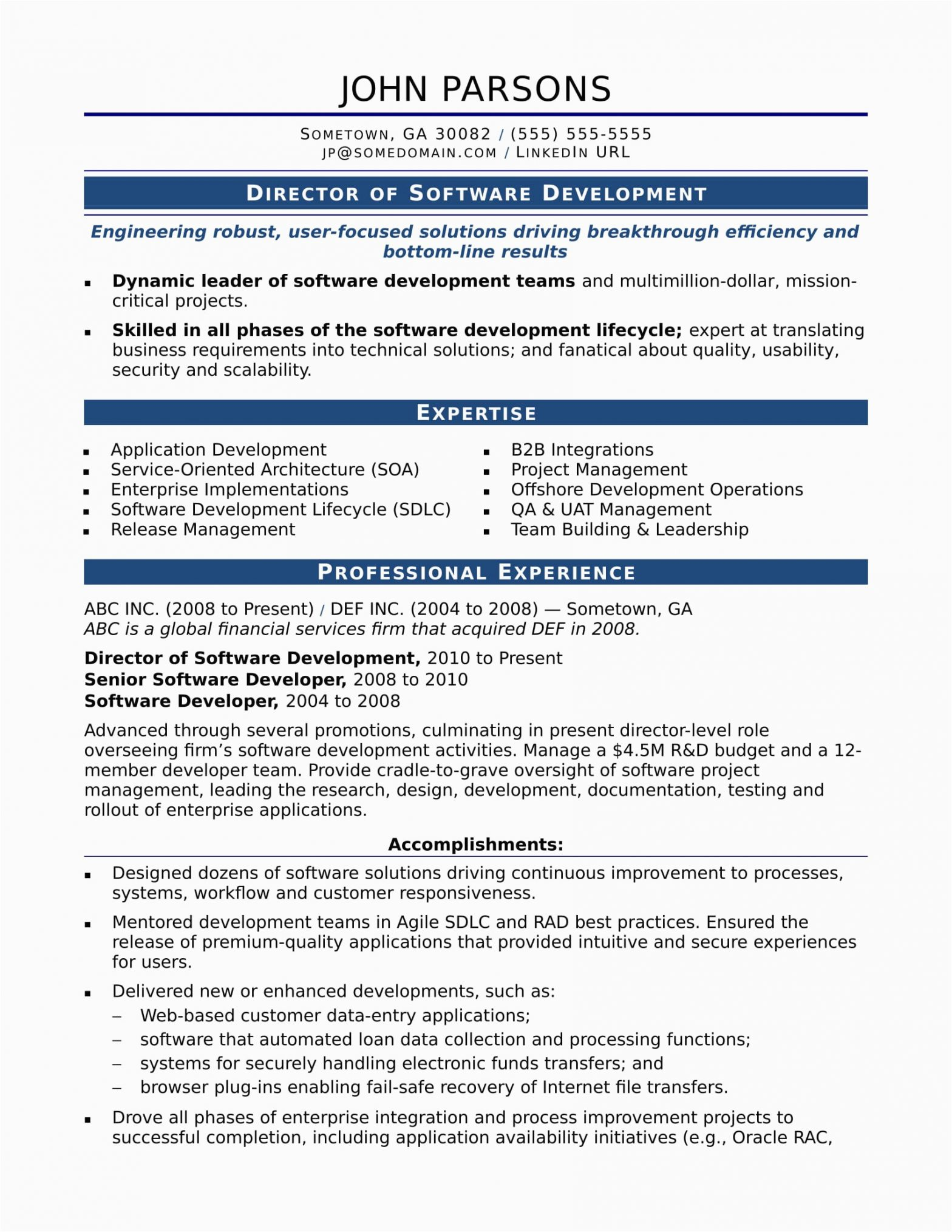 Resume Samples for Experienced software Professionals Sample Resume for An Experienced It Developer
