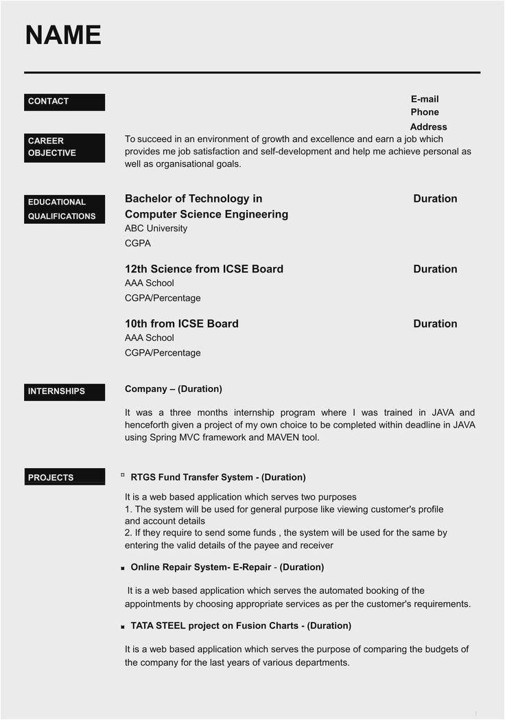Resume Samples for Freshers In India Resume format Pdf Download for Freshers India In 2020