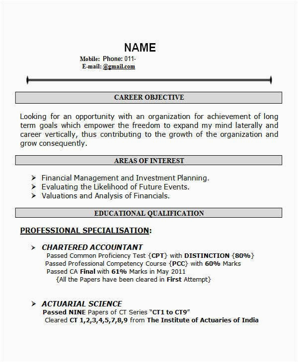 resume templates for freshers india